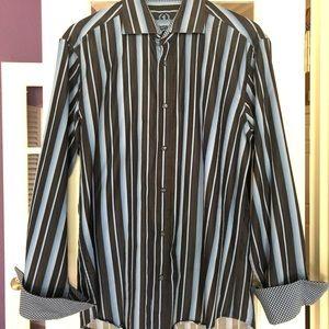 Bugatchi Men's Cotton Shaped Fit Classic Blue